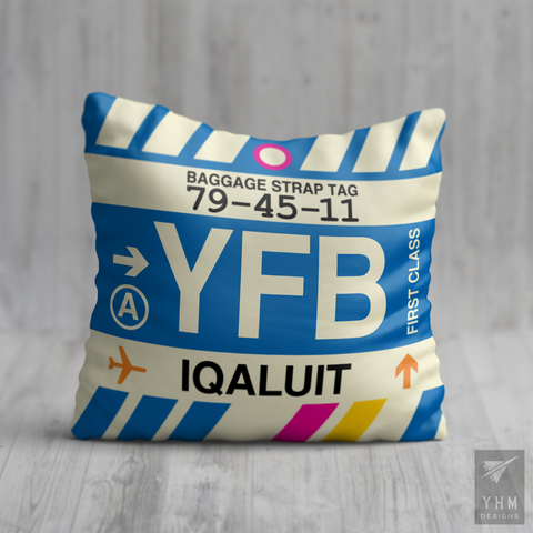 YHM Designs - YFB Iqaluit Airport Code Throw Pillow - Housewarming Gift, Birthday Gift, Teacher Gift, Thank You Gift