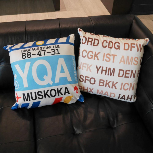YHM Designs - YLL Lloydminster Throw Pillow - Airport Code and Vintage Baggage Tag Design - Image 6