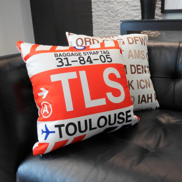 YHM Designs - YLL Lloydminster Throw Pillow - Airport Code and Vintage Baggage Tag Design - Image 8