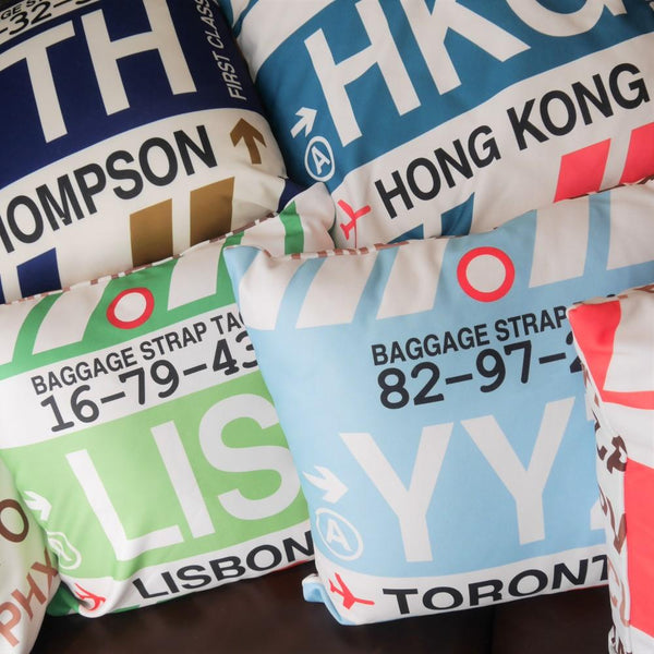 YHM Designs - YLL Lloydminster Throw Pillow - Airport Code and Vintage Baggage Tag Design - Image 3