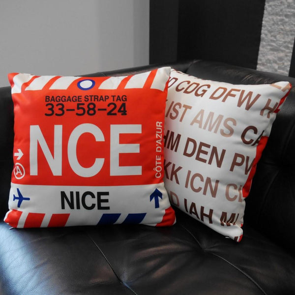 YHM Designs - PVG Shanghai Throw Pillow - Airport Code and Vintage Baggage Tag Design - Image 9