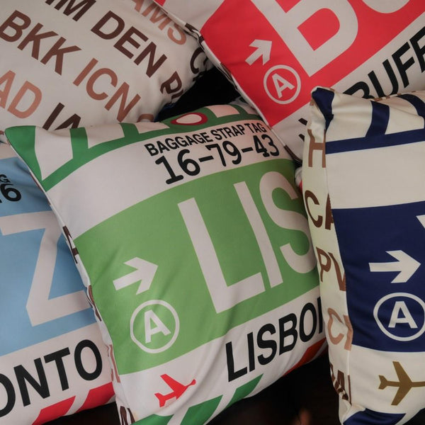 YHM Designs - YLL Lloydminster Throw Pillow - Airport Code and Vintage Baggage Tag Design - Image 4