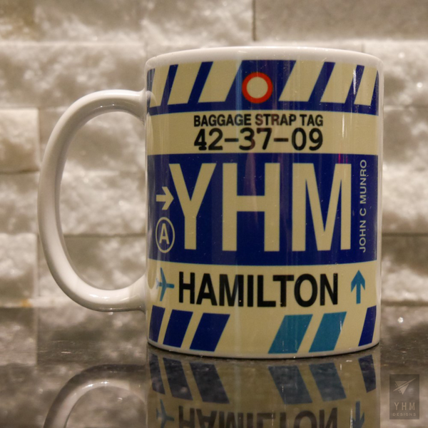 YHM Designs - Airport Code Baggage Tag Coffee Mug 1