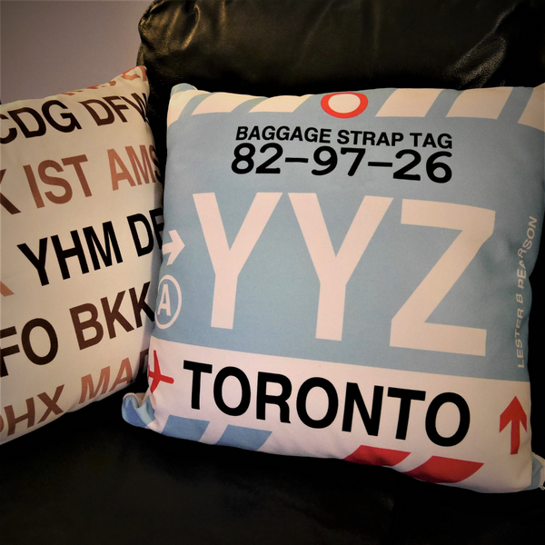 YHM Designs - Airport Code Baggage Tag Pillows 2