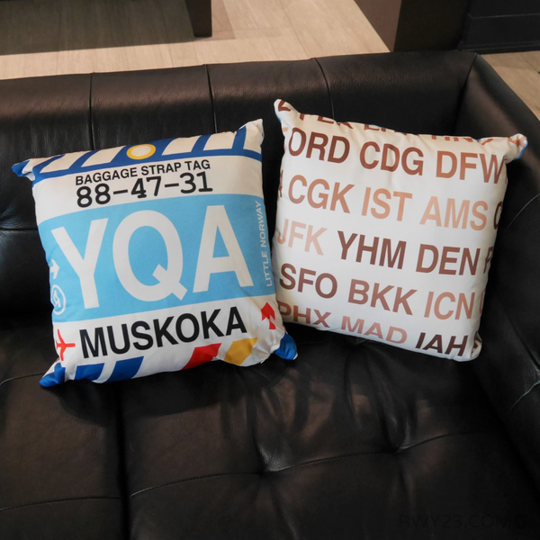 YHM Designs - Airport Code Baggage Tag Pillows 4