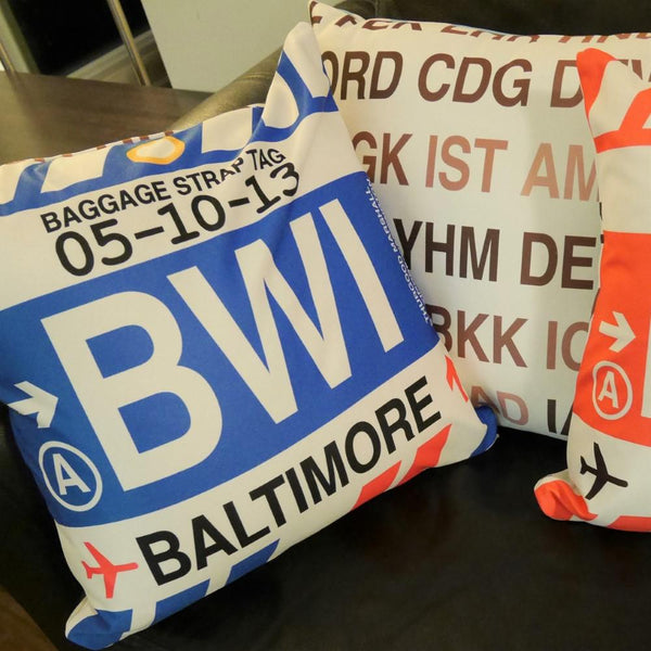 YHM Designs - Airport Code Baggage Tag Pillows 7