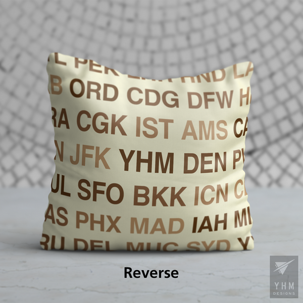 YHM Designs - HLZ Hamilton Airport Code Throw Pillow - Housewarming Gift, Birthday Gift, Teacher Gift, Thank You Gift (Reverse)