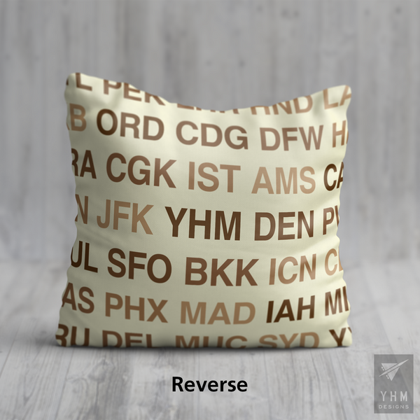 YHM Designs - YLW Kelowna Airport Code Throw Pillow - Housewarming Gift, Birthday Gift, Teacher Gift, Thank You Gift (Reverse)