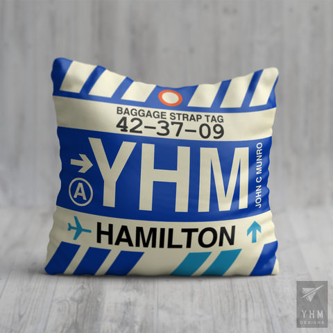 YHM Designs - YHM Hamilton Airport Code Throw Pillow - Housewarming Gift, Birthday Gift, Teacher Gift, Thank You Gift 01