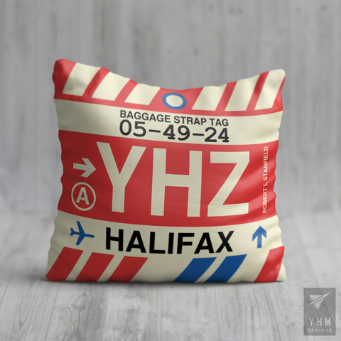 YHM Designs - YHZ Halifax Airport Code Throw Pillow - Local Merchandise