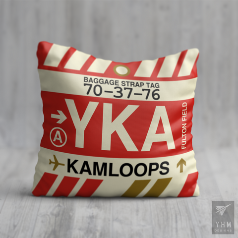 YHM Designs - YKA Kamloops Airport Code Throw Pillow - Housewarming Gift, Birthday Gift, Teacher Gift, Thank You Gift