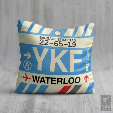 YHM Designs - YKF Waterloo Airport Code Throw Pillow - Housewarming Gift, Birthday Gift, Teacher Gift, Thank You Gift