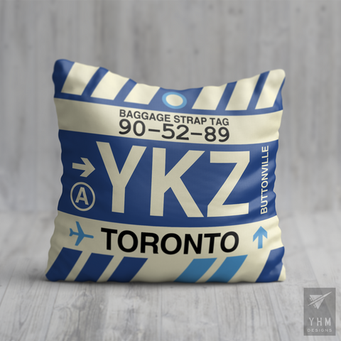 YHM Designs - YKZ Toronto Airport Code Throw Pillow - Housewarming Gift, Birthday Gift, Teacher Gift, Thank You Gift