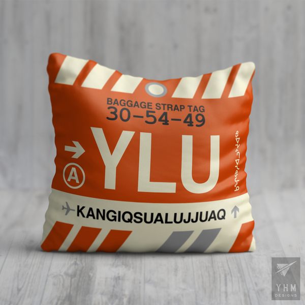 YHM Designs - YLU Kangiqsualujjuaq Airport Code Throw Pillow - Housewarming Gift, Birthday Gift, Teacher Gift, Thank You Gift