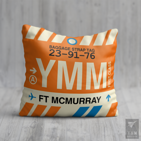 YHM Designs - YMM Fort McMurray Airport Code Throw Pillow - Housewarming Gift, Birthday Gift, Teacher Gift, Thank You Gift