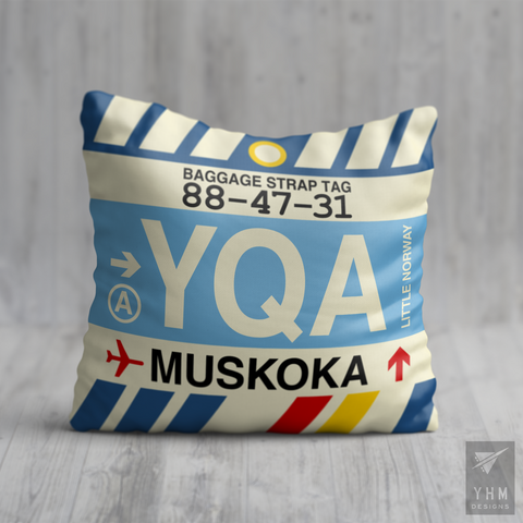 YHM Designs - YQA Muskoka Airport Code Throw Pillow - Housewarming Gift, Birthday Gift, Teacher Gift, Thank You Gift