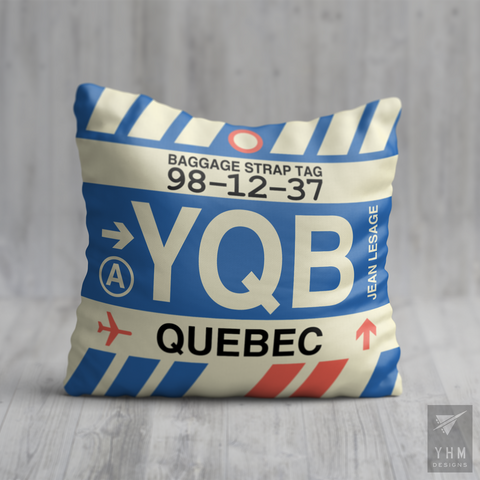 YHM Designs - YQB Quebec City Airport Code Throw Pillow - Housewarming Gift, Birthday Gift, Teacher Gift, Thank You Gift