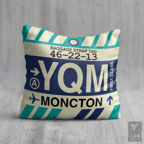 YHM Designs - YQM Moncton Airport Code Throw Pillow - Housewarming Gift, Birthday Gift, Teacher Gift, Thank You Gift