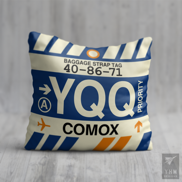 YHM Designs - YQQ Comox Airport Code Throw Pillow - Housewarming Gift, Birthday Gift, Teacher Gift, Thank You Gift