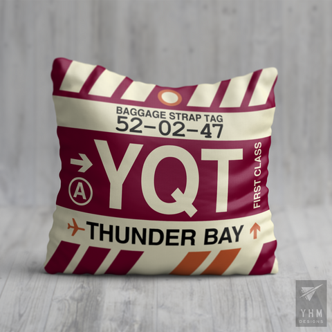 YHM Designs - YQT Thunder Bay Airport Code Throw Pillow - Housewarming Gift, Birthday Gift, Teacher Gift, Thank You Gift