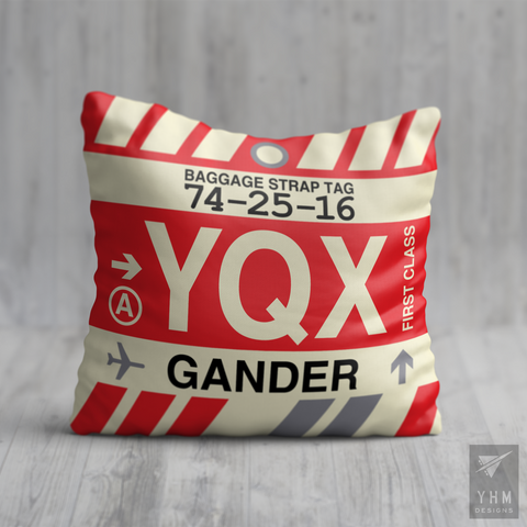 YHM Designs - YQX Gander Airport Code Throw Pillow - Housewarming Gift, Birthday Gift, Teacher Gift, Thank You Gift
