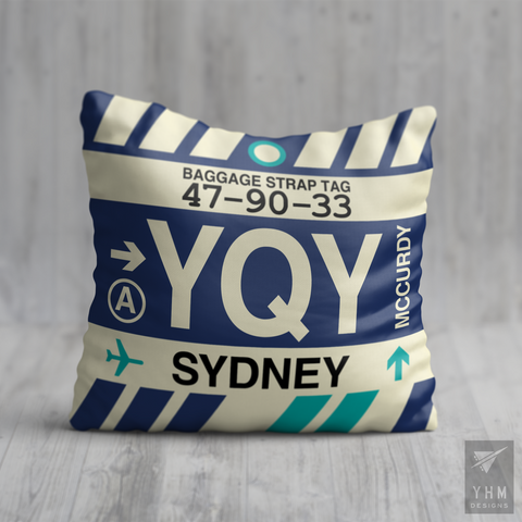 YHM Designs - YQY Sydney Airport Code Throw Pillow - Housewarming Gift, Birthday Gift, Teacher Gift, Thank You Gift