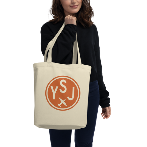 YSJ Saint John Organic Tote • Cotton Twill • Airport Code & Vintage Roundel Design • Orange