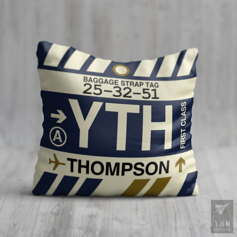 YHM Designs - YTH Thompson Airport Code Throw Pillow - Local Merchandise