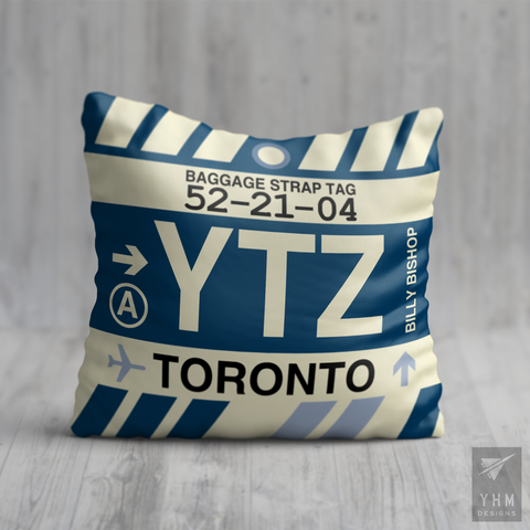 YHM Designs - YTZ Toronto Airport Code Throw Pillow - Housewarming Gift, Birthday Gift, Teacher Gift, Thank You Gift
