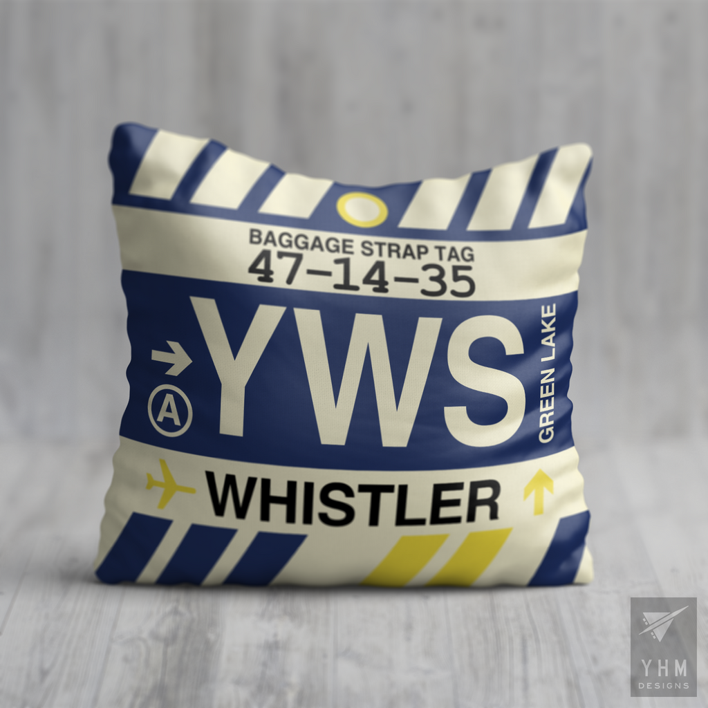YHM Designs - YWS Whistler Airport Code Throw Pillow - Housewarming Gift, Birthday Gift, Teacher Gift, Thank You Gift