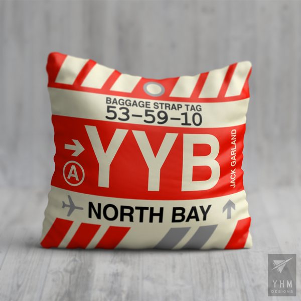 YHM Designs - YYB North Bay Airport Code Throw Pillow - Housewarming Gift, Birthday Gift, Teacher Gift, Thank You Gift