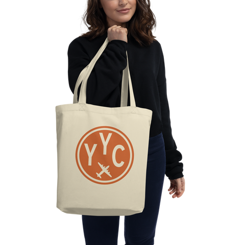 YYC Calgary Organic Tote • Cotton Twill • Airport Code & Vintage Roundel Design • Orange