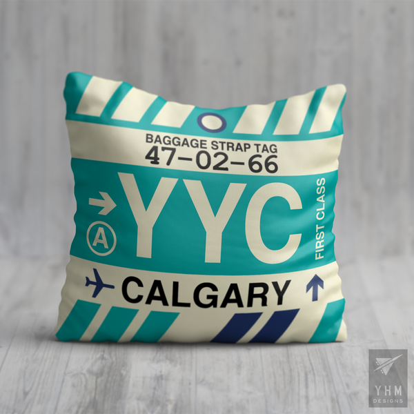 YHM Designs - YYC Calgary Airport Code Throw Pillow - Local Merchandise