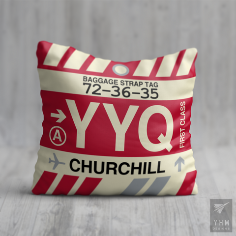 YHM Designs - YYQ Churchill Airport Code Throw Pillow - Local Merchandise