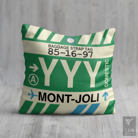 YHM Designs - YYY Mont-Joli Airport Code Throw Pillow - Housewarming Gift, Birthday Gift, Teacher Gift, Thank You Gift