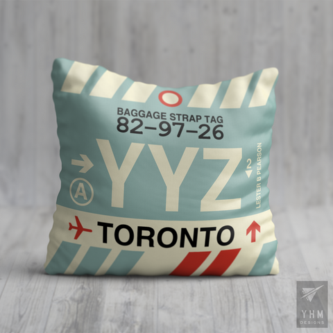 YHM Designs - YYZ Toronto Airport Code Throw Pillow - Housewarming Gift, Birthday Gift, Teacher Gift, Thank You Gift