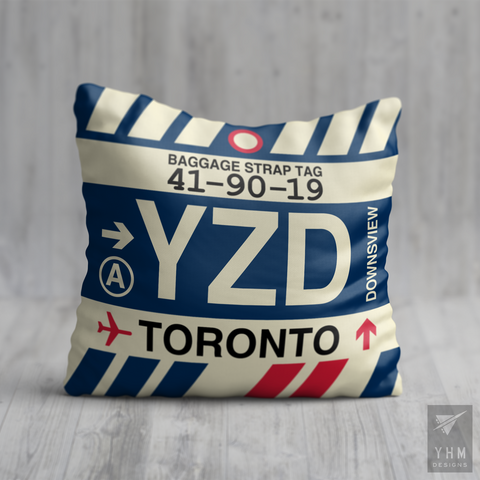 YHM Designs - YZD Toronto Airport Code Throw Pillow - Housewarming Gift, Birthday Gift, Teacher Gift, Thank You Gift