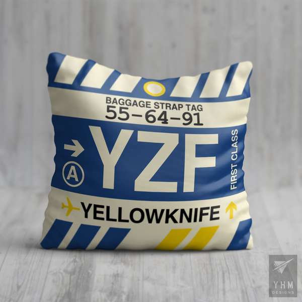 YHM Designs - YZF Yellowknife Airport Code Throw Pillow - Housewarming Gift, Birthday Gift, Teacher Gift, Thank You Gift