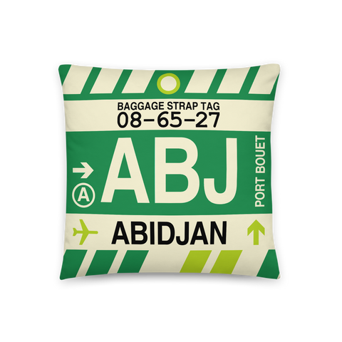 YHM Designs - ABJ Abidjan Throw Pillow - Airport Code and Vintage Baggage Tag Design - Front