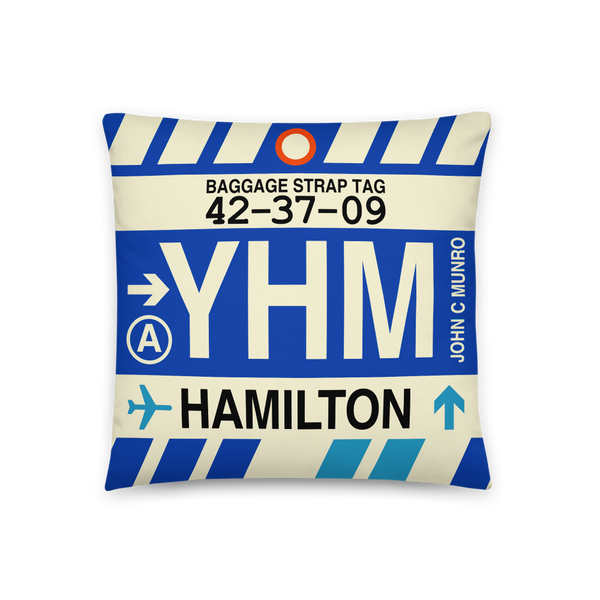 YHM Designs - YHM Hamilton Throw Pillow - Airport Code and Vintage Baggage Tag Design - Front