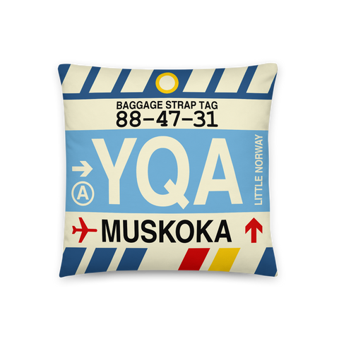 YHM Designs - YQA Muskoka Throw Pillow - Airport Code and Vintage Baggage Tag Design - Front