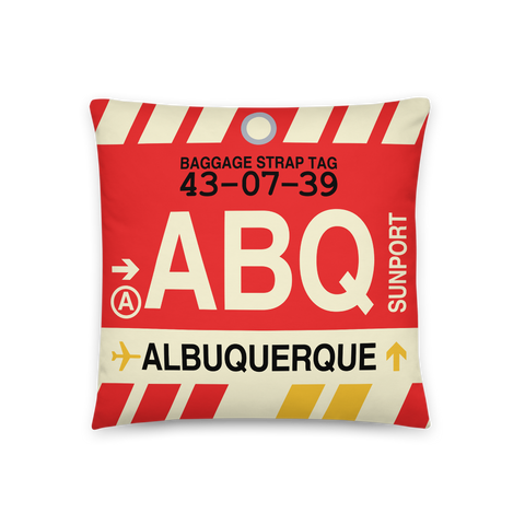 YHM Designs - ABQ Albuquerque Throw Pillow - Airport Code and Vintage Baggage Tag Design - Front