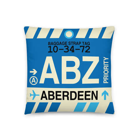 YHM Designs - ABZ Aberdeen Throw Pillow - Airport Code and Vintage Baggage Tag Design - Front