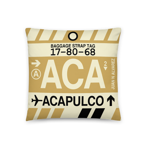 YHM Designs - ACA Acapulco Throw Pillow - Airport Code and Vintage Baggage Tag Design - Front