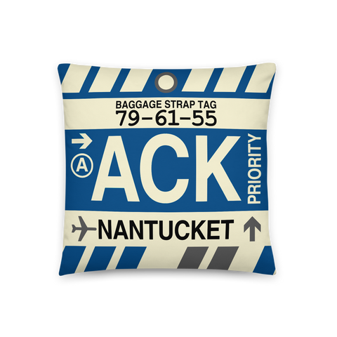 YHM Designs - ACK Nantucket Throw Pillow - Airport Code and Vintage Baggage Tag Design - Front