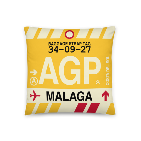 YHM Designs - AGP Malaga Throw Pillow - Airport Code and Vintage Baggage Tag Design - Front