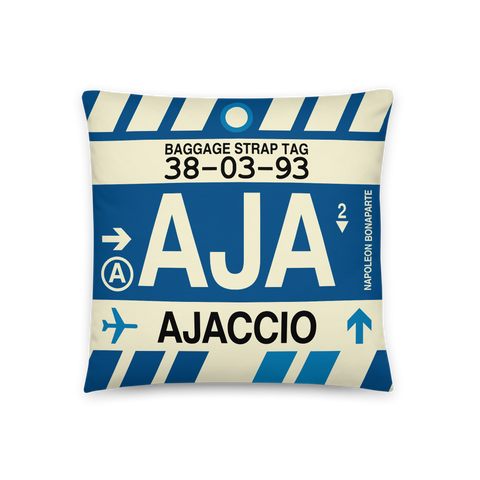 YHM Designs - AJA Ajaccio Throw Pillow - Airport Code and Vintage Baggage Tag Design - Front