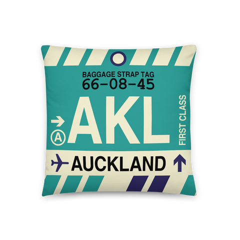 YHM Designs - AKL Auckland Throw Pillow - Airport Code and Vintage Baggage Tag Design - Front
