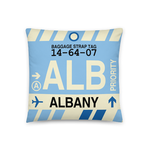 YHM Designs - ALB Albany Throw Pillow - Airport Code and Vintage Baggage Tag Design - Front
