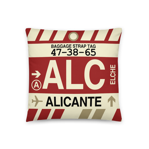 YHM Designs - ALC Alicante Throw Pillow - Airport Code and Vintage Baggage Tag Design - Front